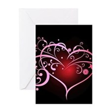Floral heart on black Greeting Cards
