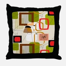 Mid-Century Modern Abstract Throw Pillow
