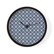Navy Blue Unique Pattern Wall Clock