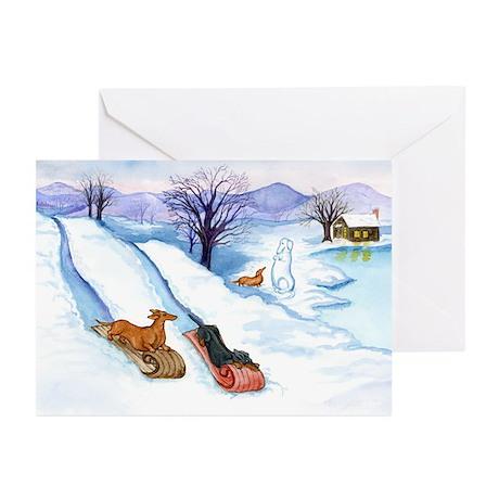 Sledding Dachshunds Greeting Cards (Pk of 10)