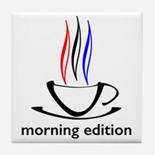 me coffee cup morning edition Tile Coaster