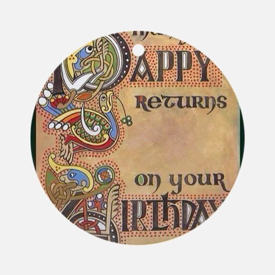 Celtic Happy Birthday Round Ornament