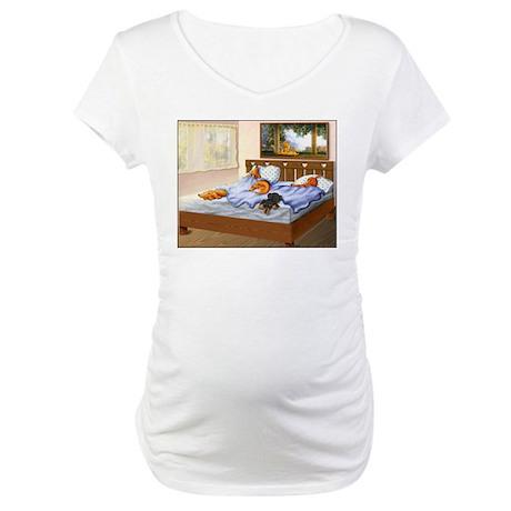 Sleeping Dachshunds Maternity T-Shirt