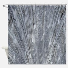 Silver Peacock Feathers Shower Curtain