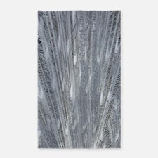 Silver Peacock Feathers 3'x5' Area Rug