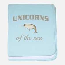 Unicorns of the sea baby blanket