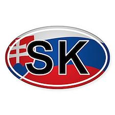 Sk - Slovakia Oval Car Sticker Flag Design
