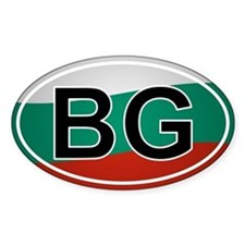 Bg - Bulgaria Oval Car Sticker Flag Design