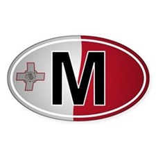 M - Malta Oval Car Sticker Flag Design
