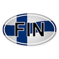 Fin - Finland Oval Car Sticker Flag Design