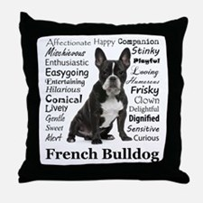 Frenchie Traits Throw Pillow