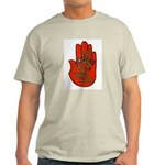 Ulster Scots flax & thistle on red hand T-Shirt