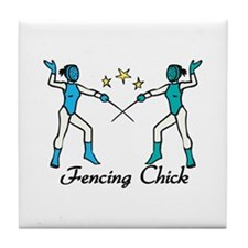 Fencing Chick Tile Coaster