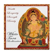 White Tara III Tile Coaster