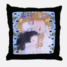Cute Klimt mother and child Throw Pillow