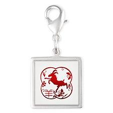Chinese Zodiac Goat Sheep Ram Silver Square Charm