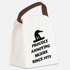 Snowboarders annoying skiers Canvas Lunch Bag