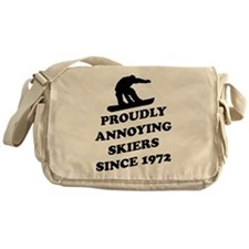 Snowboarders annoying skiers Messenger Bag