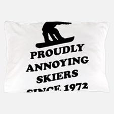 Snowboarders annoying skiers Pillow Case
