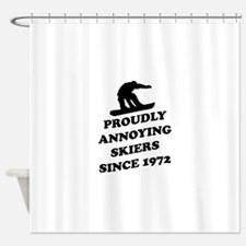 Snowboarders annoying skiers Shower Curtain