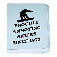 Snowboarders annoying skiers baby blanket