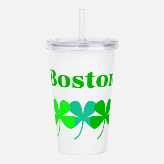I Love Boston Green Acrylic Double-Wall Tumbler