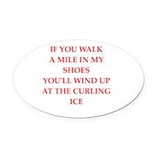 Cute Curling team Oval Car Magnet