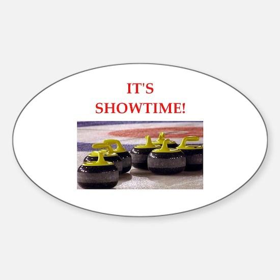Cute Curling funny Sticker (Oval)