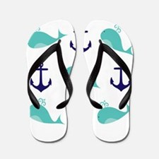 Whales and Anchors Flip Flops