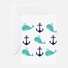 Whales and Anchors Greeting Cards
