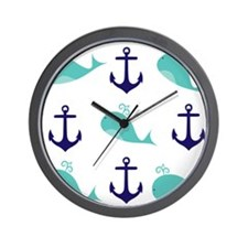 Whales and Anchors Wall Clock