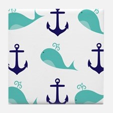 Whales and Anchors Tile Coaster
