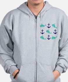 Whales and Anchors Zip Hoodie