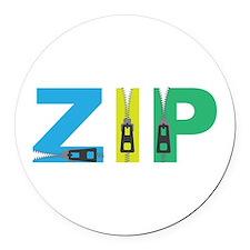 Zip Round Car Magnet