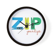 Zip Your Lips Wall Clock