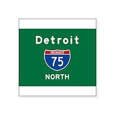 "Detroit 75 Square Sticker 3"" X 3"""