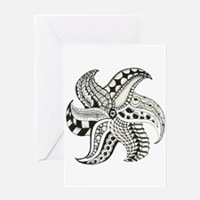 Black and White Doodle Seastar or Starfish Greetin