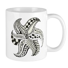 Black and White Doodle Seastar or Starfish Mugs