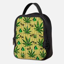 Paisley Pot Leaves On Bamboo Neoprene Lunch Bag
