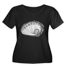 Abalone Sea Shell Beach Theme in Black and White P