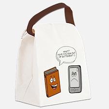 Book vs eBook Canvas Lunch Bag