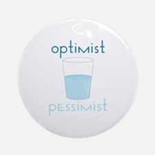 Optimist Pessimist Ornament (Round)