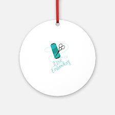 I Love Embroidery Ornament (Round)
