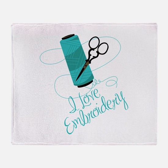 I Love Embroidery Throw Blanket