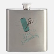 I Love Embroidery Flask