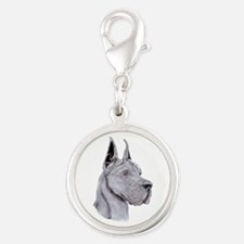 Great Dane Blue Show Colors Silver Round Charm