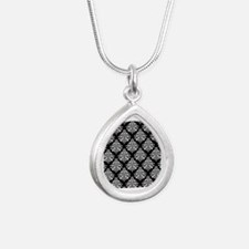 Damask black white Silver Teardrop Necklace