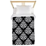 Damask black white Twin Duvet