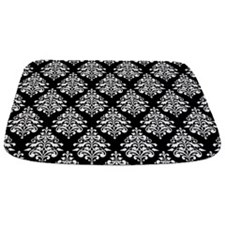 Damask black white Bathmat