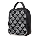 Damask black white Neoprene Lunch Bag